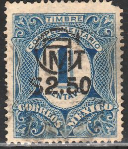 MEXICO 603, 1c COMPLEMENTARIO WITH $2.50 SURCHARGE. USED. F-VF. (1533)