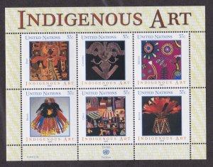 United Nations - New York # 836, Indigenous Art Souvenir Sheet, NH, 1/2 Cat.