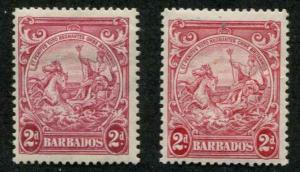 Barbados SC# 195A, 195B  SG# 250c, 250d Colony Seal 2d,MH
