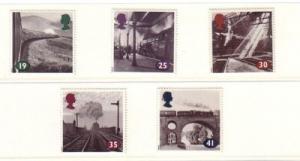 Great Britain Sc 1533-7 1994 steam RR engine  stamp set mint NH
