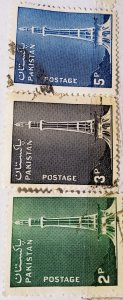 Pakistan:1978:(20% reduced price)Monumnet:Set of 3 Single Stamps: Used