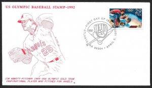 UNITED STATES FDC 29¢ Olympic Baseball 1992 Eric Carlson