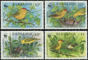 Barbados 1991 Sc 795-798 Bird Yellow Warbler CV $15.50