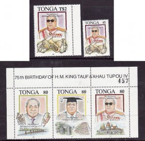 Tonga-Sc#850-2- id2-Unused NH set-King Tauta'ahau-75th Birthday-1993-