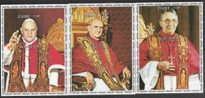 Zaire #918-20 MNH S/Sheets - Popes