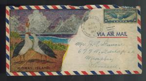 1941 USA Gooney Bird Cachet Midway Island Pacific to Memphis TN w Letter