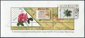 Netherlands B637a sheet,MNH.Michel Bl.31. FILACEPT-1988,Poem,Flowers.