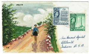 Malta 1961 Cospicua cancel on HANDPAINTED cover to the U.S.