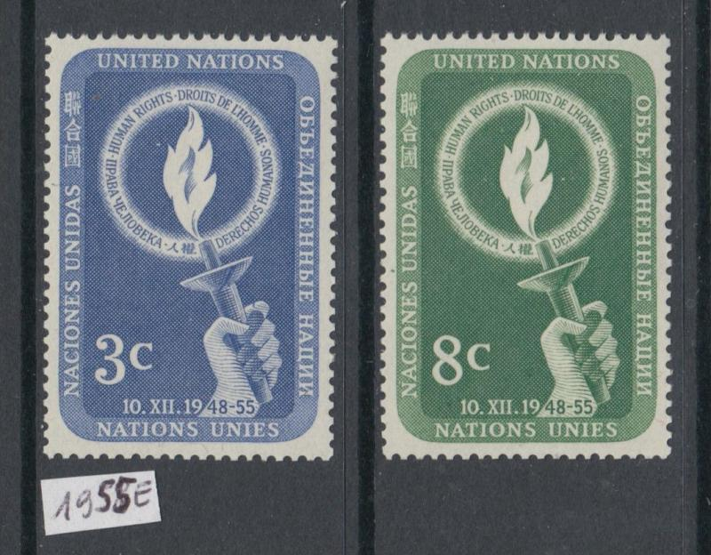 XG-X608 UNITED NATIONS - New York, 1955 Human Rights, 2 Values MNH Set