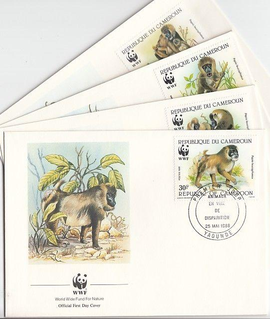 Cameroon, Scott cat. 843-846. Baboons on W.W.F. issue on 4 First day covers.