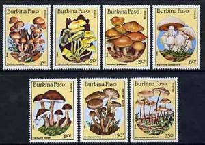Burkina Faso 1985 Fungi unmounted mint complete set of 7,...