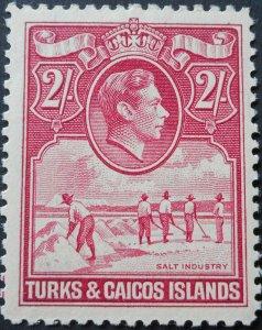 Turks & Caicos Islands 1938 GVI 2/- SG 203 mint