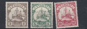 TOGO  1909 - 19      S G G 20 - 22    3PF - 10PF   BLACK &  CARMINE    LMH