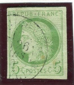 FRENCH COLONIES; 1871 early classic Imperf Ceres issue fine used 5c. value