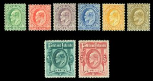 FALKLAND ISLANDS 1904-07 KEVII  complete set  Scott # 22-29 (SG 43-50) mint MH