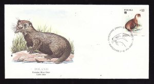 Flora & Fauna of the World #131b-stamp on FDC-Animals-Eurasian River Otter-Polan