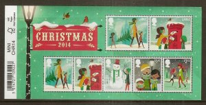 GB 2014 Christmas Mini Sheet with Barcode Margin