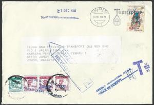 MALAYSIA 1998 cover ex Singapore with postage dues returned to sender......10066