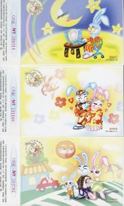CHINA PRC 1999 SET OF TWELVE 12 NEW YEAR OF THE RABBIT LOTTERY POSTCARDS  SHOWN