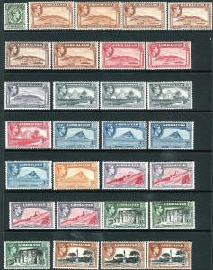 GIBRALTAR-1935-51  A mounted mint set to £1, all perf & Wmk varieties Sg 121-131
