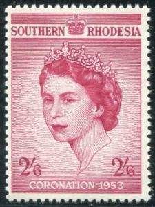 HERRICKSTAMP SOUTHERN RHODESIA Sc.# 80 Key 1953 QE II Coronation Stamp