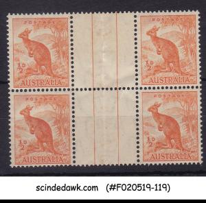 AUSTRALIA - 1937-46 1/2p orange KANGAROO SCOTT#166 4V GUTTER PAIR MNH