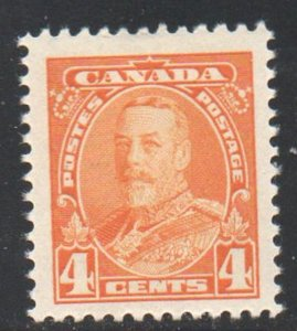 Canada Sc 220 1935 4c yellow George V stamp mint NH