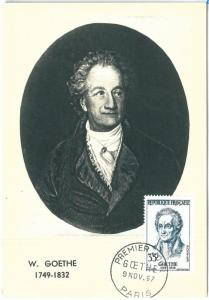 72726 -  FRANCE - Postal History -  MAXIMUM CARD - LITERATURE Goethe 1957