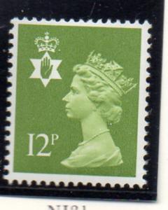 G.B. N Ireland Sc NIMH17 1980 12p yel grn Machin mint NH