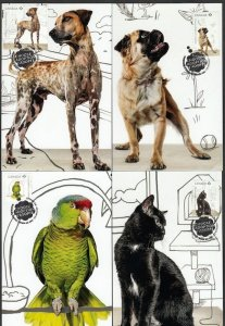 CANADA #2636a-e, ADOPT-a-PET with CATS, DOGS, PARROT, set of 5 SUPERB MAXICARDS