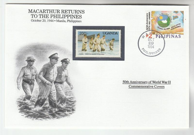 1994 PHILIPPINES Special WWII COVER GENERAL MACARTHUR EVENT stamp