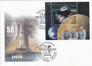 2019 MOLDOVA - MOON LANDING 50TH ANNIVERSARY MINI SHEET  ON FIRST DAY COVER