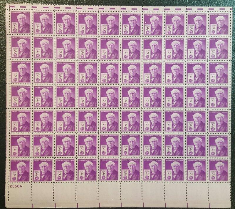 U.S. #945 Full sheet  honoring Thomas Edison
