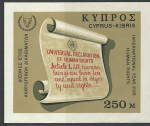 Cyprus # 313  Human Rights   souvenir sheet  (1)  Mint NH