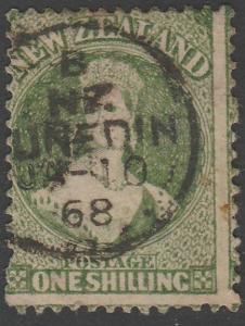NEW ZEALAND 1864 1/- Chalon perf 12½ SG124 used Dunedin cds................65575