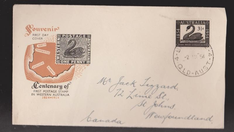 AUSTRALIA Scott # 274 On FDC Unknown Cachet Mailed To Newfoundland