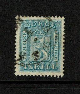 Norway SC# 8, Used, minor toning, ink bleeding on back - S9190