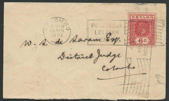 CEYLON 1931 small size GV 6c envelope used locally in Colombo..............51087