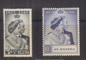 St. HELENA, 1948 Silver Wedding pair, mnh., toning.