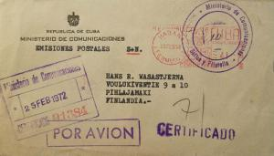 L) 1972 CUBA, METHER STAMPS, AIRMAIL, CERTIFICATE 01384, CIRCULATED COVER FROM