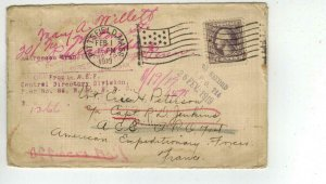 1919 PITTSFIELD MA Flag Cancel ARMED EXPEDITIONARY FORCES To FRANCE + MARKINGS