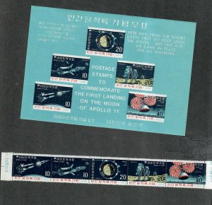 Korea Sc#663a, 663b M/NH/VF, Perf+Imperf S/S Moon Landing, Cv. $53