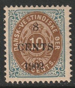 Danish West Indies 25 MH DG/toning