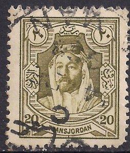 Transjordan 1927 - 29 KGV1 20 mil Olive Green Emir Abdullah used SG 165 ( L14...