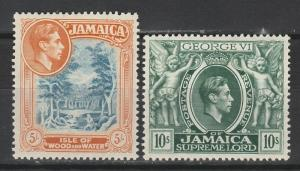 JAMAICA 1938 KGVI PICTORIAL 5/- AND 10/- PERF 14