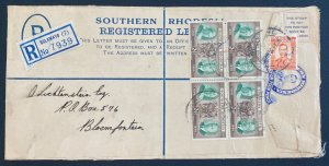 1956 Bulawayo Southern Rhodesia Postal Stationery Cover To Bloemfontein S Africa
