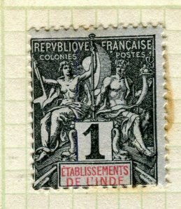 FRENCH INDIA; 1892 classic early 'Tablet' issue Mint hinged 1c. value