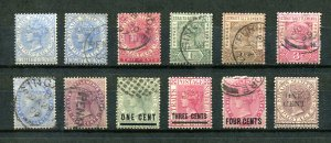 x487 - STRAITS SETTLEMENTS Lot of (12) QV Period Stamps. Used, Mint