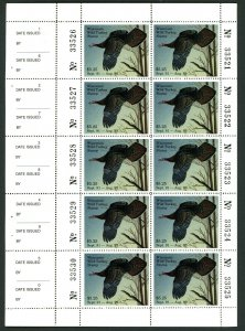 WISCONSIN 1991 STATE TURKEY STAMP FULL NH PANE OF 10 by David Constantine