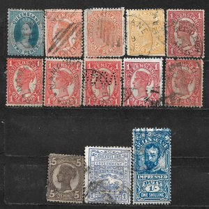 COLLECTION LOT OF 15 QUEENSLAND 1876+ STAMPS CLEARANCE